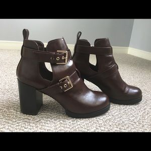 Forever 21 dark-brown heeled ankle boots